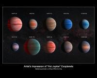 Artist's Impression of the 10 Hot Jupiter Exoplanets