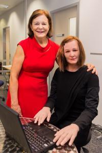 Nadia Thalmann (Left) Standing Beside Nadine