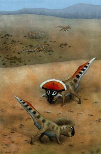 Artwork of <em>Protoceratops andrewsi</em>