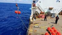 Deploying NOAA Hydrophone into Pacific Ocean