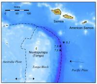 Map of 2009 Samoa-Tonga Quake Zone