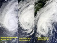 NASA MODIS Catches 3 Days of Hurricane Igor Transition
