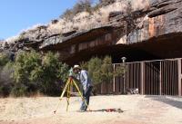 Surveying Outside Wonderwerk Cave