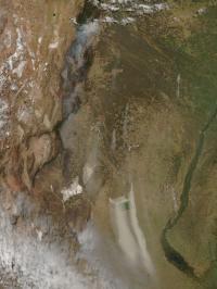 Aqua Sees Argentina Fires
