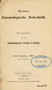 <i>Berliner Entomologische Zeitschrift</i>