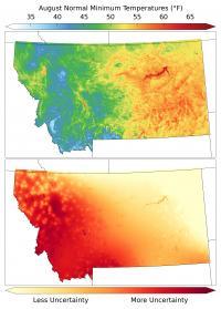Montana August Minimum Temperatures
