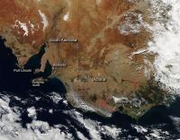 Aqua Image of Fires in Australia