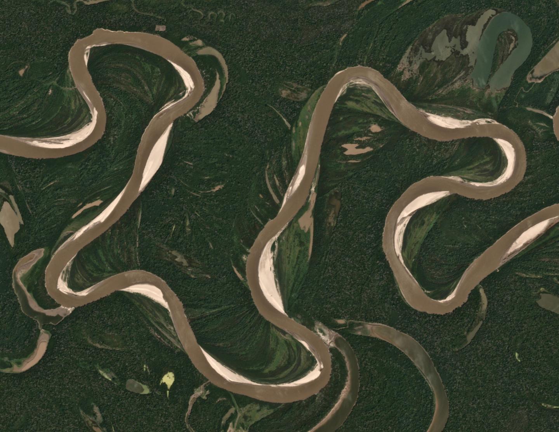 Sharp bends make rivers wander