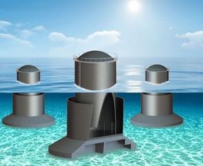 Esta é uma imagem esquemática de um dispositivo conversor de energia das ondas
