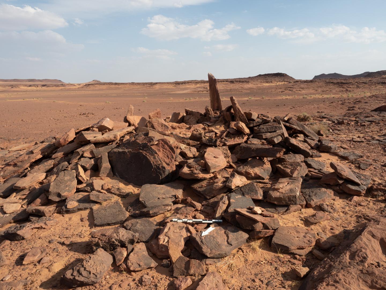 Diese Grabstätte in einem Ödlandgebiet von AlUla im Nordwesten Saudi-Arabiens ist für das neolithisch-chalkolithische Arabien insofern eine Seltenheit, als sie oberirdisch angelegt wurde und visuell auffällig sein sollte. Hier wurden die Knochen der Hunde gefunden.
