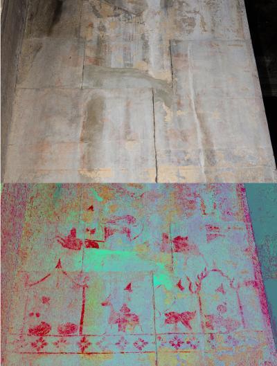 A hidden image at Angkor Wat temple showing life scenes. The enhanced image is below, and the original image is above. [Credit: Noel Hidalgo Tan]
