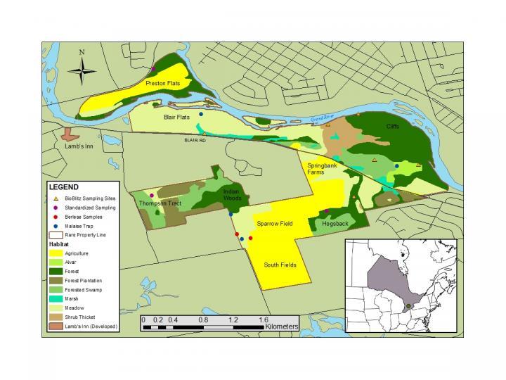 Map Indicating Habitat Types and Sampling Sites [image ...